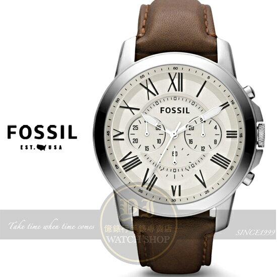 FOSSIL美國品牌都會紳士三眼計時真皮腕錶-米黃x咖啡/44mm FS4735公司貨/禮物/聖誕節