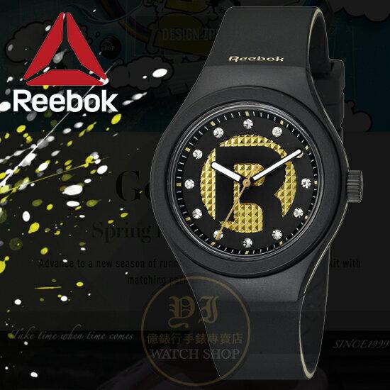 Reebok運動潮流品牌ICON-DROP RAD STUD系列腕錶-黑金/38mm RC-IDS-L2-PBIB-B2