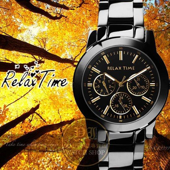 Relax Time關詩敏代言經典三眼錶款-金/黑/42mm R0800-16-21X公司貨/MIT/原創設計