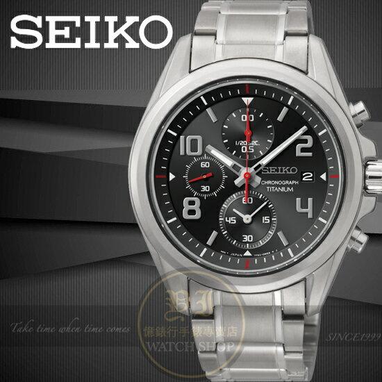 SEIKO日本精工【鈦】極速挑戰三眼計時腕錶-黑/40mm 7T92-0PN0D/SNDE61P1公司貨/王力宏/手錶