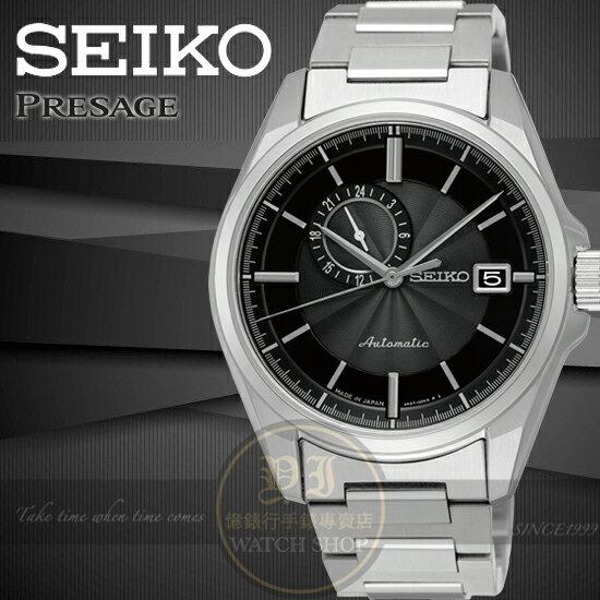 SEIKO日本精工PRESAGE 偏心系列復古紳士機械腕錶-黑/38mm 4R37-00W0D /SSA195J1公司貨