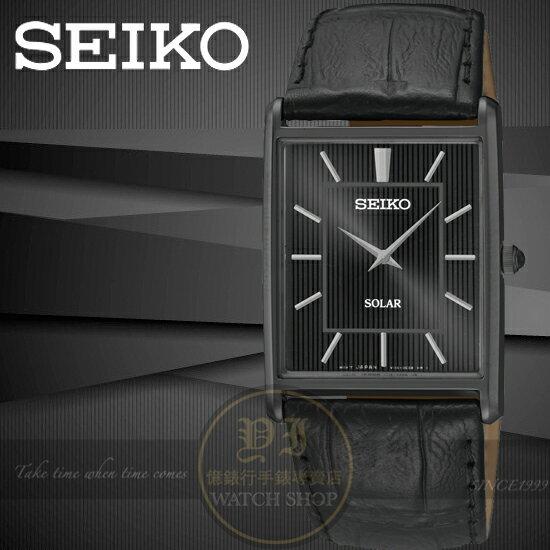 SEIKO日本精工SOLAR復古紳士薄型真皮腕錶-IP黑/28mm V115-0BC0D/SUP881P1公司貨