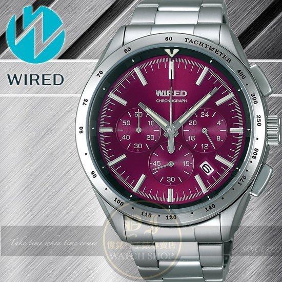 WIRED日本原創飆速三眼計時腕錶-紫紅/44mm VK63-X002R公司貨/禮物/聖誕節/SEIKO精工