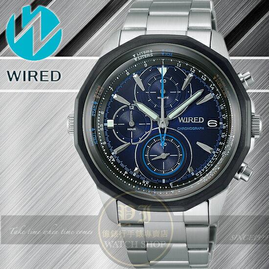 WIRED日本原創THE BLUE系列 擁抱藍天三眼計時腕錶-藍/42mm VK67-X002A 公司貨 柯有倫
