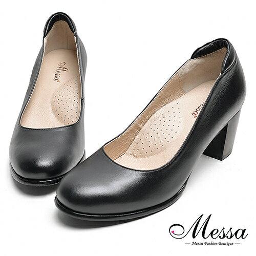 ~Messa米莎專櫃女鞋~MIT全真羊皮秘書系列柔軟素面圓頭高跟鞋~黑色  加
