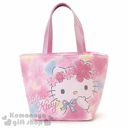 〔小禮堂〕Hello Kitty 手提空氣包《小.粉.櫻花滿版》春漫櫻花系列