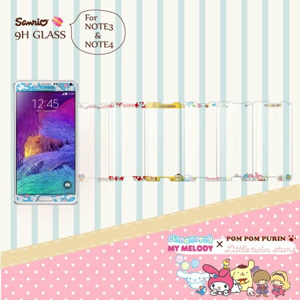 三星Samsung GALAXY NOTE3 N7200 N9005 NOTE4 N9100 9H 正版 三麗鷗Sanrio 雙子星 美樂蒂 9H浮雕彩繪 鋼化玻璃螢幕貼 手機保護膜
