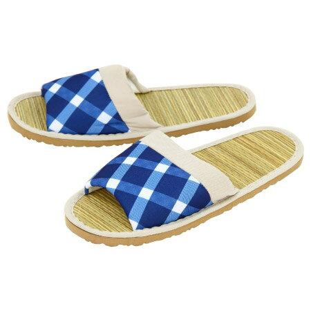 藺草蓆拖鞋 藍 學士風格 L 8041
