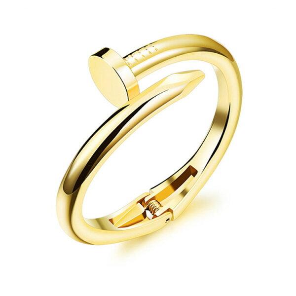 最新款經典時尚精美特色釘子造型女款銅鍍18K金手環