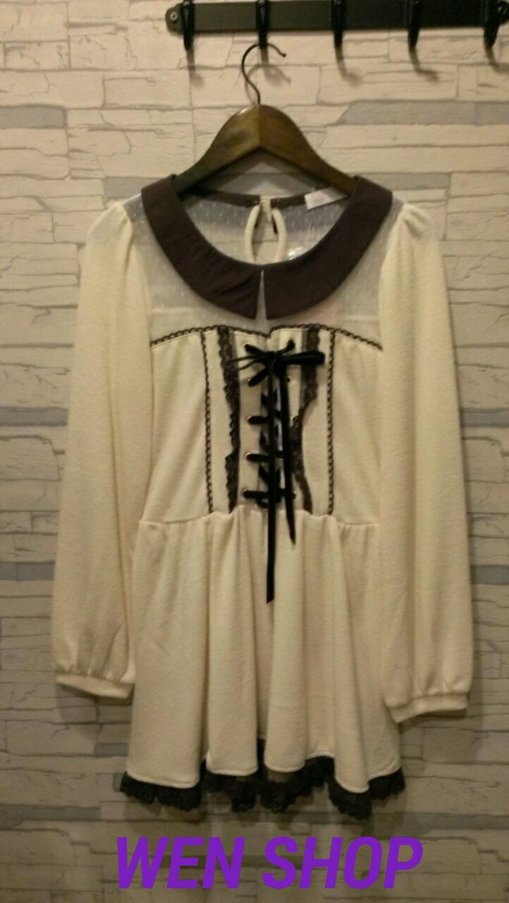 LIZ LISA 氣質米白洋裝 ~  好康折扣