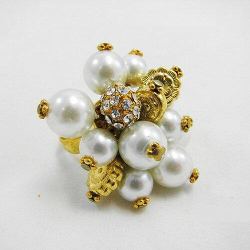 香奈兒風珍珠水晶戒指