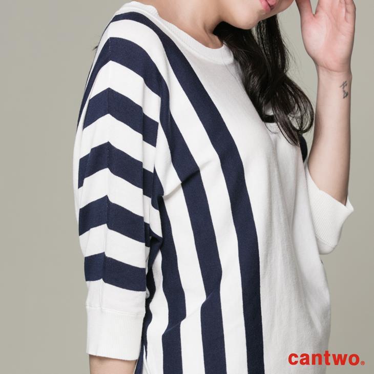 cantwo條紋落肩袖上衣(共二色) 5