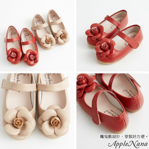 AppleNana。MIT手工童鞋。盛開手工玫瑰全真皮娃娃鞋【QBC70361080】蘋果奈奈 2