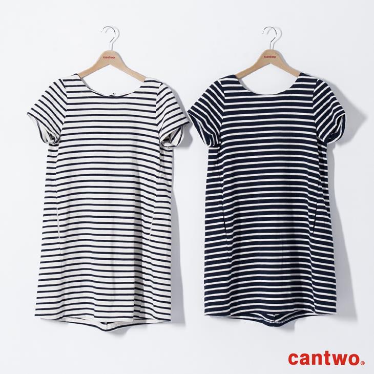 cantwo雙色條紋短袖洋裝(共三色) 6