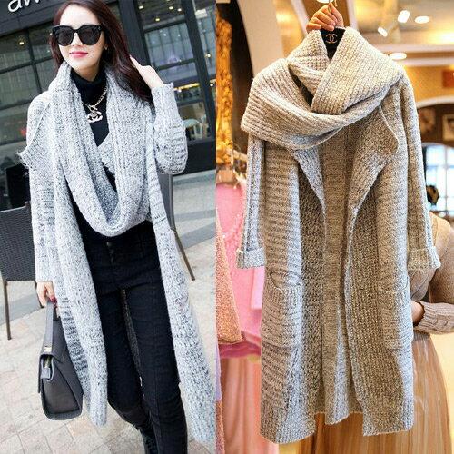 外套 - 圍巾造型開襟針織大衣外套【29213】藍色巴黎《2色》現貨 + 預購 1