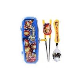 韓國進口304不鏽鋼兒童學習餐具組 Disney  Iron Man 鋼鐵人-【學習筷+湯匙 附餐具收納盒】