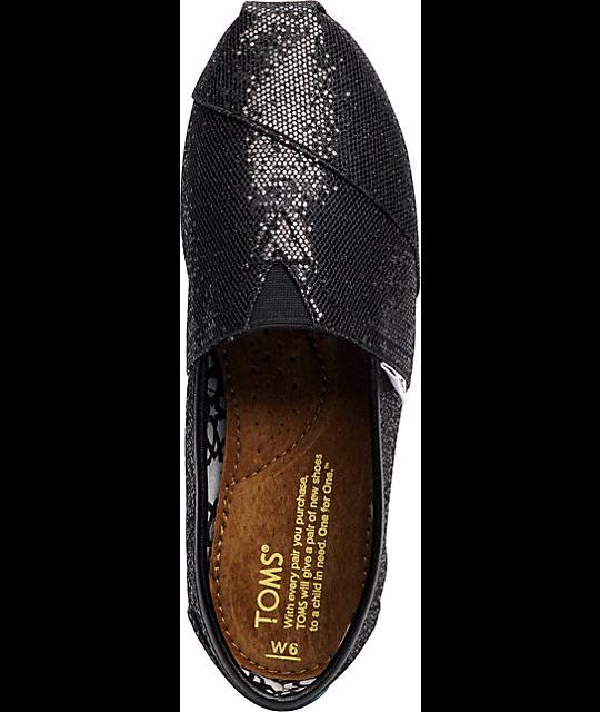 【TOMS】 經典亮片款平底休閒鞋(黑色)  Black Glitter Women's Classics 4
