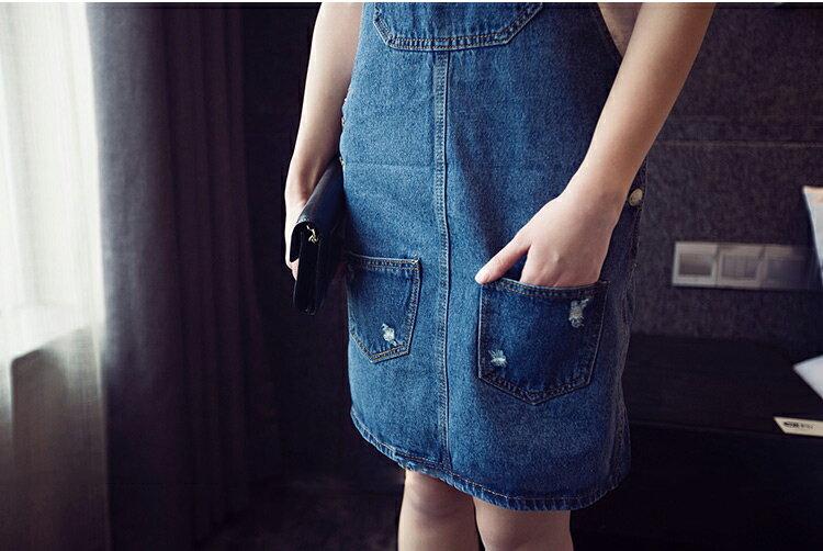 牛仔裙 - 韓版 吊帶牛仔連身短裙 (可調吊帶)【23241】 藍色巴黎 - 現貨 1