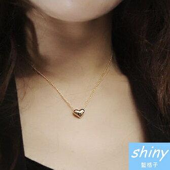 【80A92】shiny藍格子-微加幸福.時尚鍍金愛心裝飾鎖骨項鏈