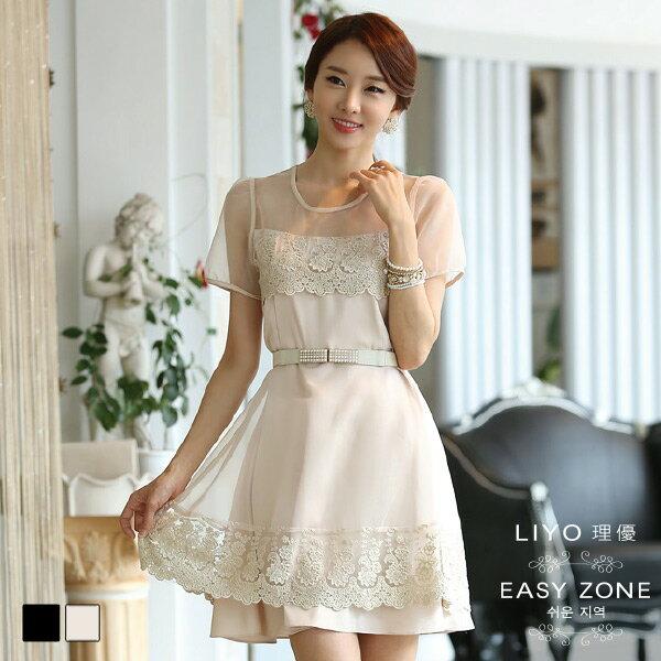 LIYO理優洋裝 正韓優雅歐根紗蕾絲連身裙4S6022