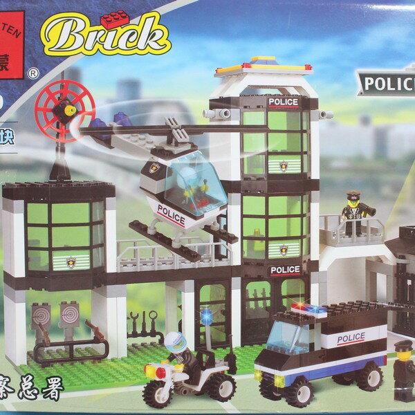 啟蒙積木 110 警察總署積木 城市系列 約466片/一盒入{促700}~可跟樂高一起組合喔!!跟樂高一樣好玩!
