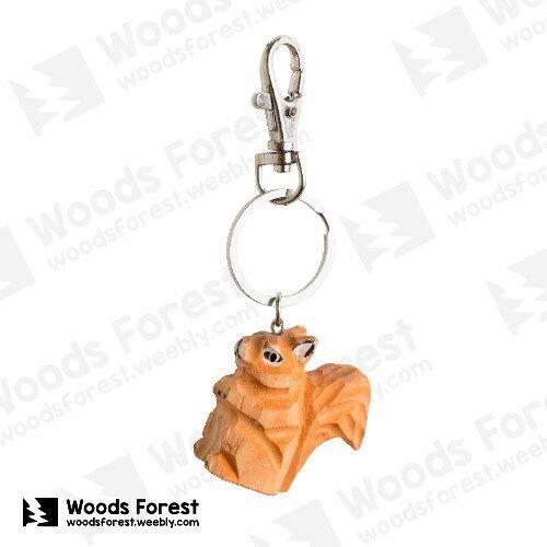 Woods Forest 木雕森林 - 禮盒款木雕鑰匙圈【松鼠】