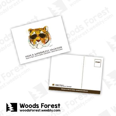 Woods Forest 木雕森林 - 明信片【墨鏡虎】