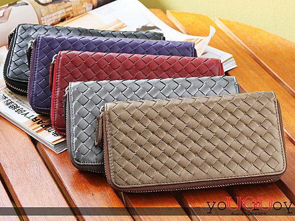 *UOU精品*韓版女用手工編織長款卡包錢包皮夾多功能小包拉鏈置物包/6色【F5300】