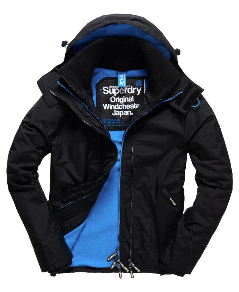 [男款] Outlet英國 極度乾燥 Pop Zip Hooded系列 男款 三層拉鍊 連帽防風衣夾克 黑色/登比藍 0