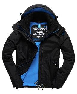 [男款] Outlet英國 極度乾燥 Pop Zip Hooded系列 男款 三層拉鍊 連帽防風衣夾克 黑色/登比藍