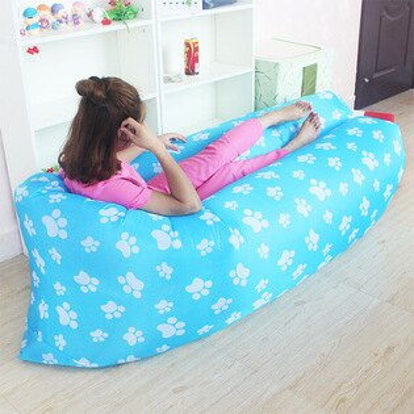 【風雅小舖】二代改良新款 腳丫圖案 充氣沙發 便攜式睡袋 可折疊式空氣沙發床 外銷款懶人沙發 Air Sofa