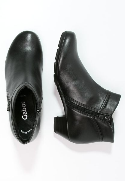 Gabor 歐美側拉鍊時尚踝靴 黑 6