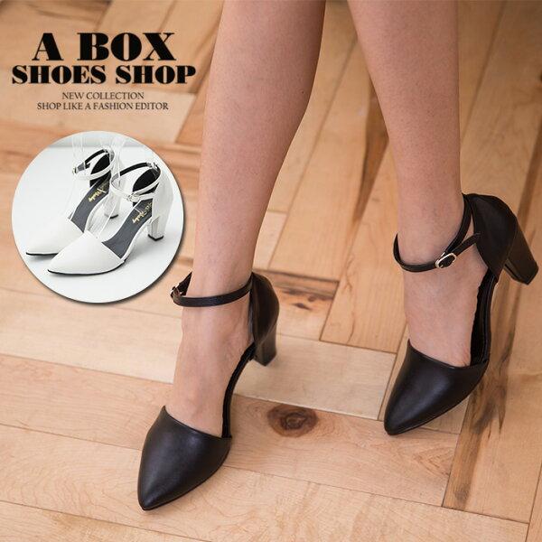 格子舖*【KT8761】MIT台灣製 韓國雜誌推薦款 時尚繞踝 好走8CM粗高跟鞋 尖頭包鞋 2色