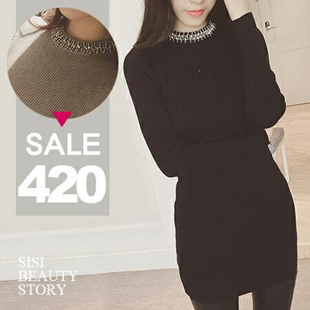 SISI【D6021】浪漫優雅韓版圓領鑲銀飾長袖螺紋修身顯瘦包臀針織連身裙洋裝