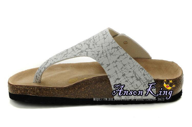 [Anson King]Outlet正品代購  birkenstock 男女款 丁字夾腳 海灘 懶人涼拖鞋 白色黑紋 1