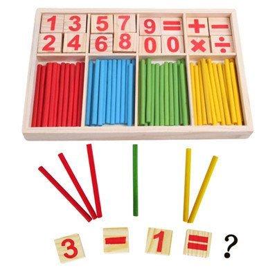 蒙特梭利教具彩色數數棒 算數符號早教益智玩具 加減乘除理解數學 幼兒園孩童 木製學習教具3 Years+