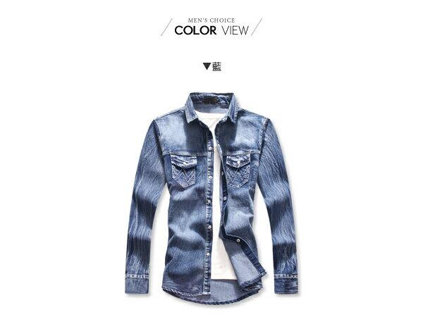 ☆BOY-2☆【NQ97015】美式刺繡口袋牛仔襯衫 1