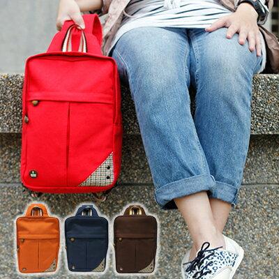 CORRE【CG71070】帆布毛革兩用後背包 共四色 紅/藍/橘/咖啡 0