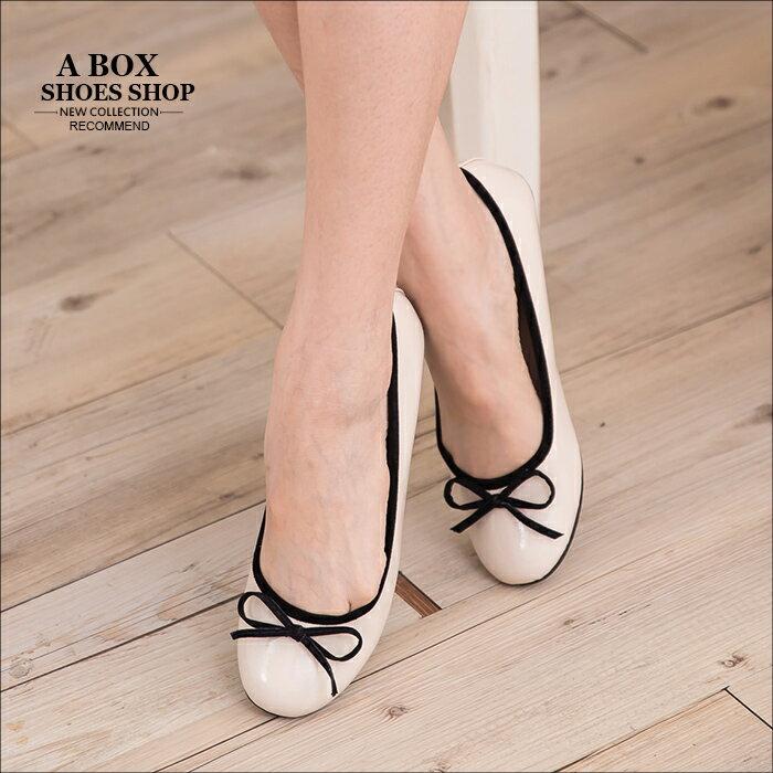 格子舖*【Ai290】MIT台灣製 OL上班族穿搭必備百搭素面亮皮圓頭平底包鞋 娃娃鞋 2色 1