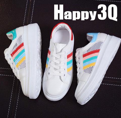 鏤空繽紛鞋帶運動休閒鞋-紅/藍/綠35-39【AAA0214】