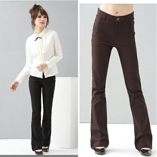 西裝褲--修長OL-超彈性中腰素面微喇叭基本款氣質長褲(黑.灰.咖S-7L)-P17眼圈熊中大尺碼