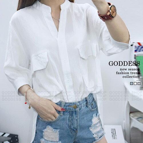 均一價390~嘉蒂斯襯衫 無印寬鬆口袋立領素色短袖襯衫~011170~3色