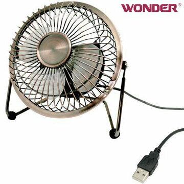 【均曜家電】WONDER旺德 USB 4吋古銅復古桌扇 WD-8514FU
