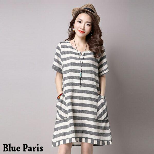 短洋裝 - V領條紋大口袋寬鬆短袖連衣裙【29134】藍色巴黎-現貨+預購 0