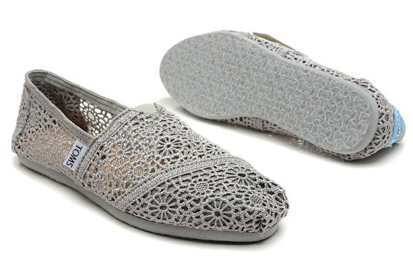 [女款] 國外代購TOMS 帆布鞋/懶人鞋/休閒鞋/至尊鞋 蕾絲系列  灰色