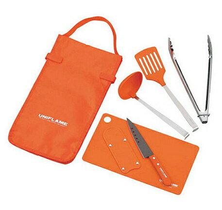 UNIFLAME 日本   Fan Tool Set 六件式廚具組 露營 野餐 餐具 廚具   秀山莊(662120)