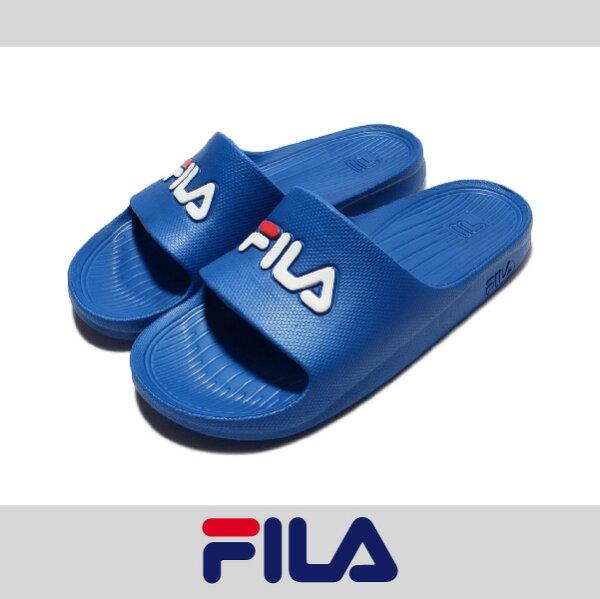 萬特戶外運動 FILA 4-S355Q 防水 超輕量 一體成形 無接縫 男女尺寸 運動 沙灘拖鞋 情侶鞋 復古經典 藍色