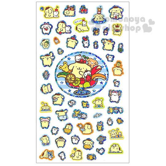 〔小禮堂〕布丁狗 日製造型貼紙《朋友.水果.銀邊》夏季系列