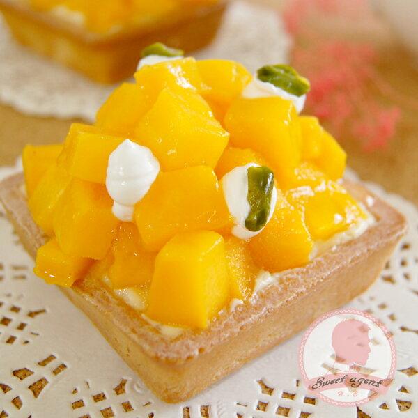 【甜點特務】[ 金黃芒果塔 ] 新鮮芒果 + 酥脆塔皮 + 香草卡士達,夏日芒果盛產,好甜好甜~ 好爽口阿,全身都親爽得起來了,芒果我愛你 ~~~
