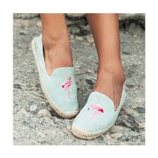 【Soludos】美國經典草編鞋-塗鴉系列草編鞋-青色火烈鳥 2